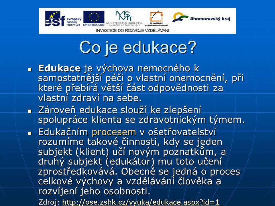 Co je edukace? Edukace je výchova nemocného k samostatnější péči o vlastní onemocnění, při které přebírá větší část odpovědnosti za vlastní zdraví na