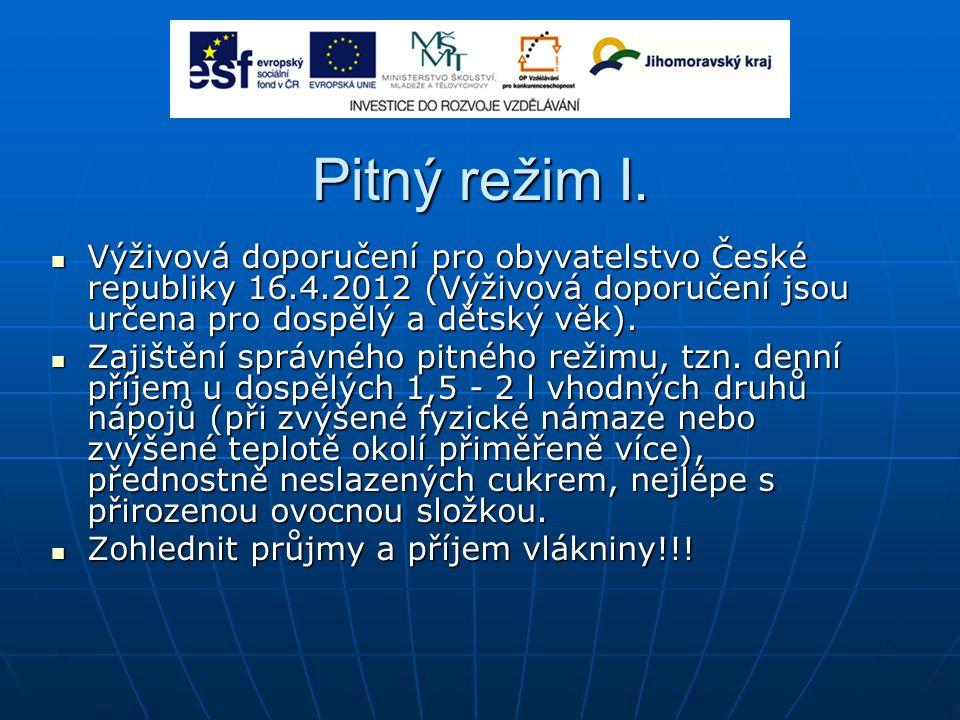 Pitný režim I. Výživová doporučení pro obyvatelstvo České republiky 16.4.2012 (Výživová doporučení jsou určena pro dospělý a dětský věk). Výživová dop