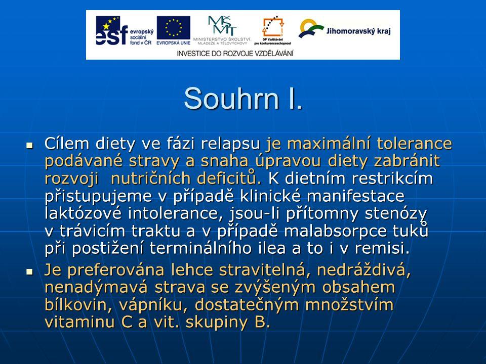 Souhrn I. Cílem diety ve fázi relapsu je maximální tolerance podávané stravy a snaha úpravou diety zabránit rozvoji nutričních deficitů. K dietním res