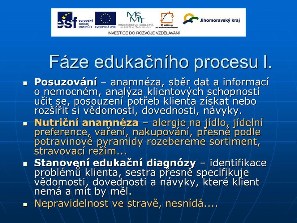 Fáze edukačního procesu I. Posuzování – anamnéza, sběr dat a informací o nemocném, analýza klientových schopností učit se, posouzení potřeb klienta zí