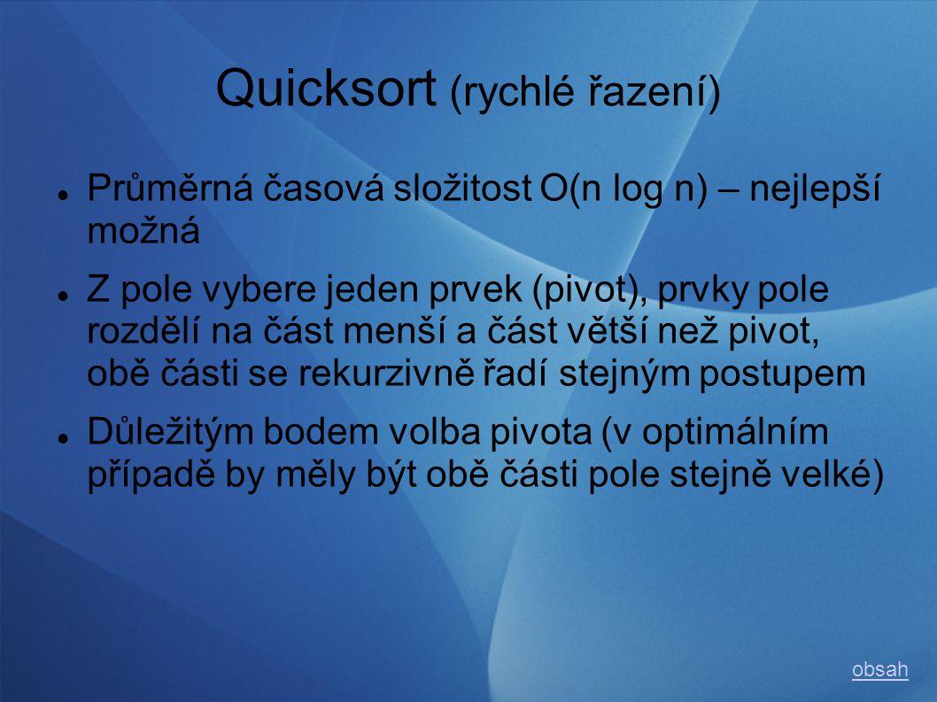 Quicksort (rychlé řazení) Průměrná časová složitost O(n log n) – nejlepší možná Z pole vybere jeden prvek (pivot), prvky pole rozdělí na část menší a část větší než pivot, obě části se rekurzivně řadí stejným postupem Důležitým bodem volba pivota (v optimálním případě by měly být obě části pole stejně velké) obsah