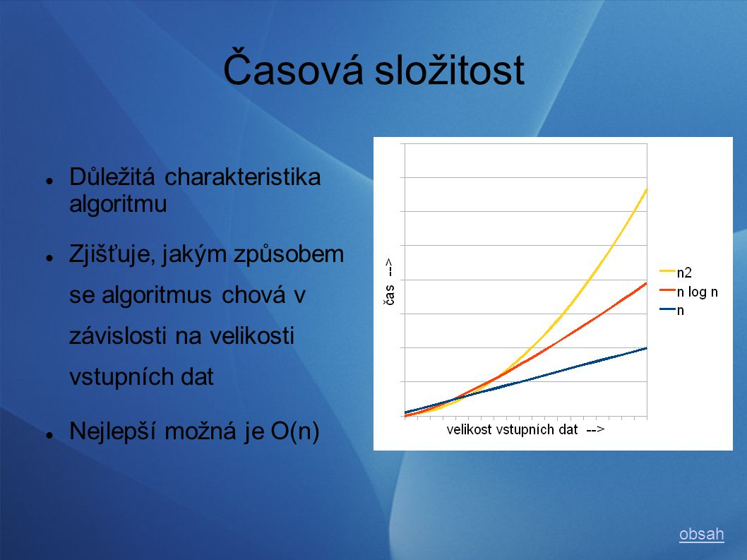 Dělení Řazení Vnitřní (v operační paměti musí být všechna data) Vnější Stabilita (na základě pořadí více prvků se stejným klíčem) Stabilní (pořadí zachováno) Nestabilní (pořadí se může změnit) obsah