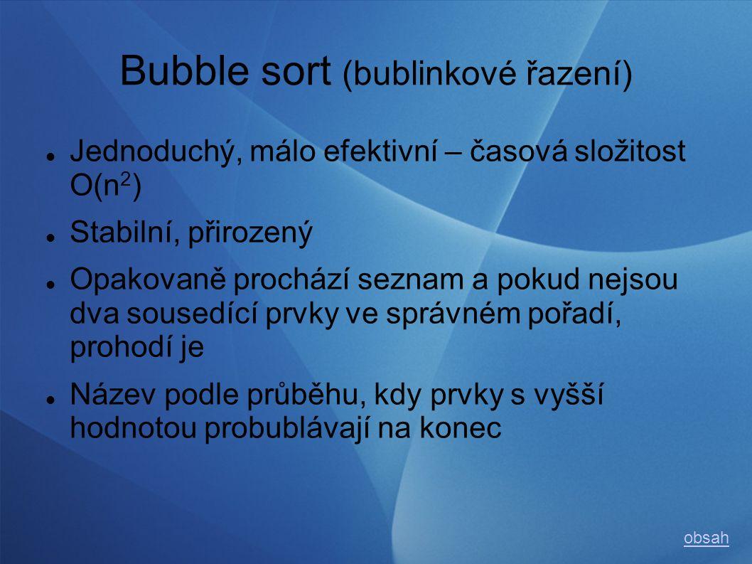 Bubble sort (bublinkové řazení) Jednoduchý, málo efektivní – časová složitost O(n 2 ) Stabilní, přirozený Opakovaně prochází seznam a pokud nejsou dva sousedící prvky ve správném pořadí, prohodí je Název podle průběhu, kdy prvky s vyšší hodnotou probublávají na konec obsah