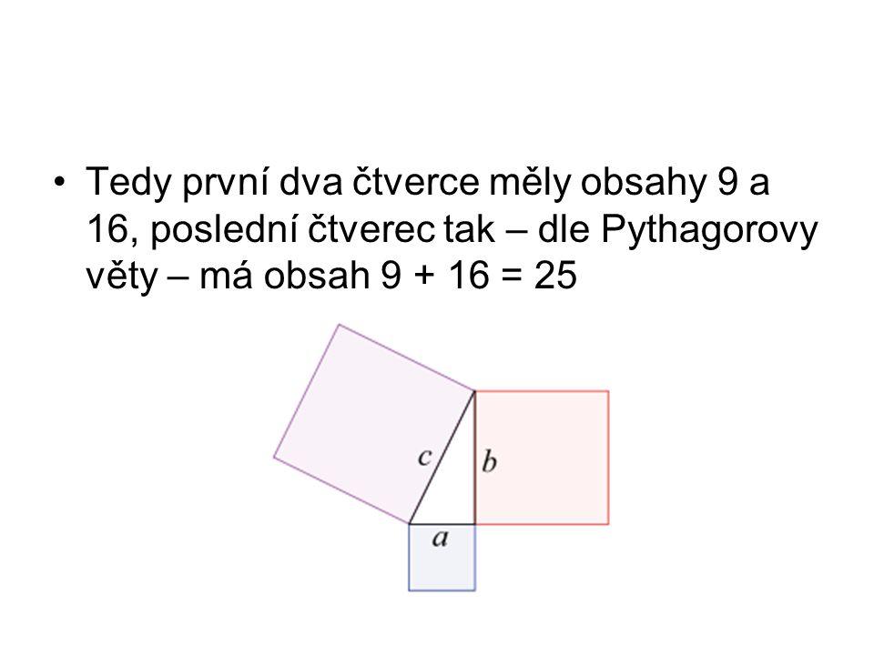 Tedy první dva čtverce měly obsahy 9 a 16, poslední čtverec tak – dle Pythagorovy věty – má obsah 9 + 16 = 25