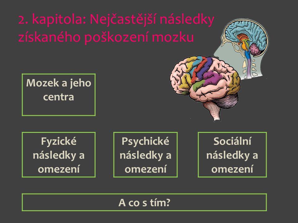 2. kapitola: Nejčastější následky získaného poškození mozku Mozek a jeho centra Fyzické následky a omezení Psychické následky a omezení Sociální násle