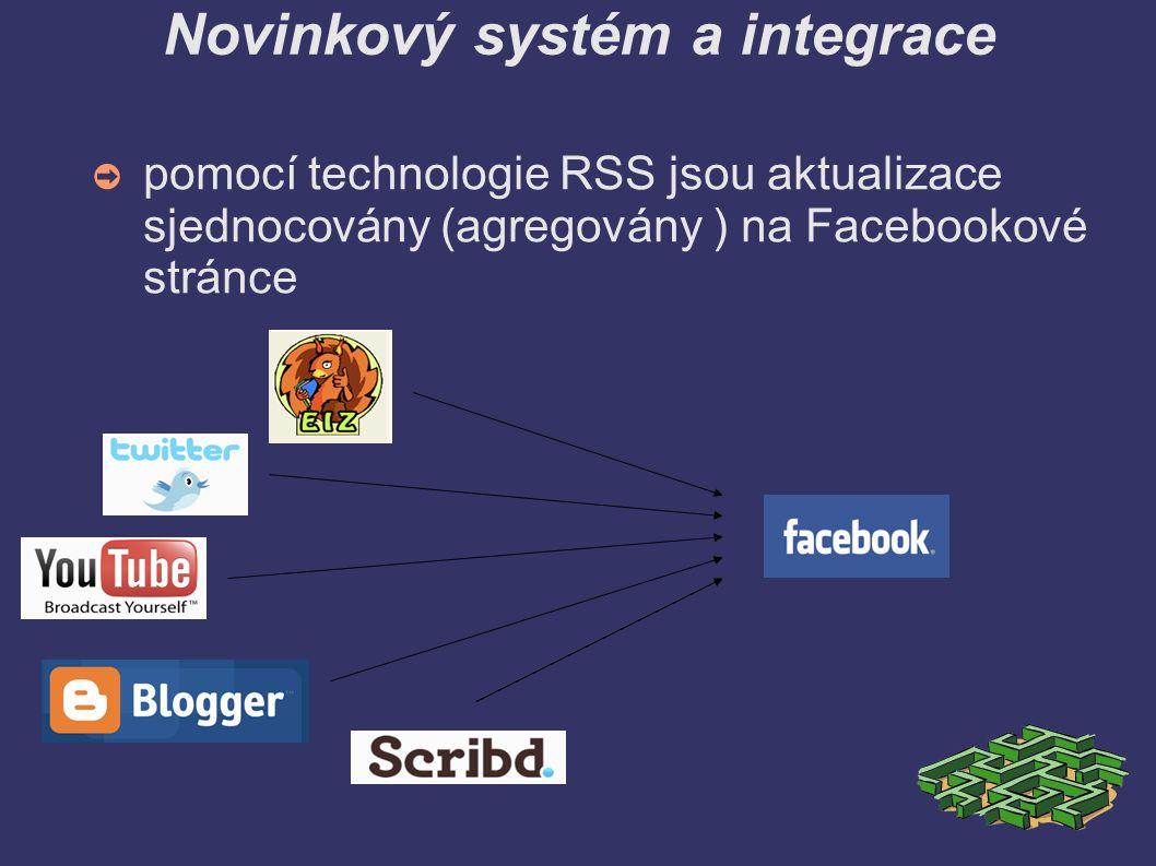 Novinkový systém a integrace ➲ pomocí technologie RSS jsou aktualizace sjednocovány (agregovány ) na Facebookové stránce