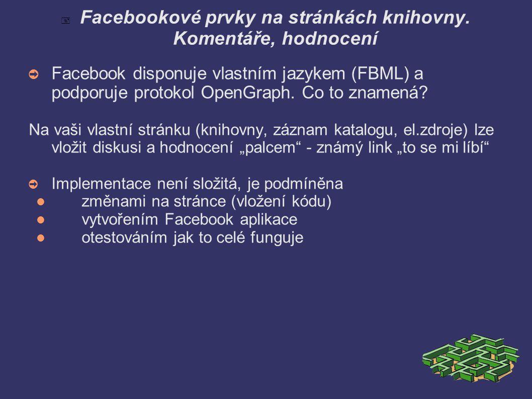  Facebookové prvky na stránkách knihovny.