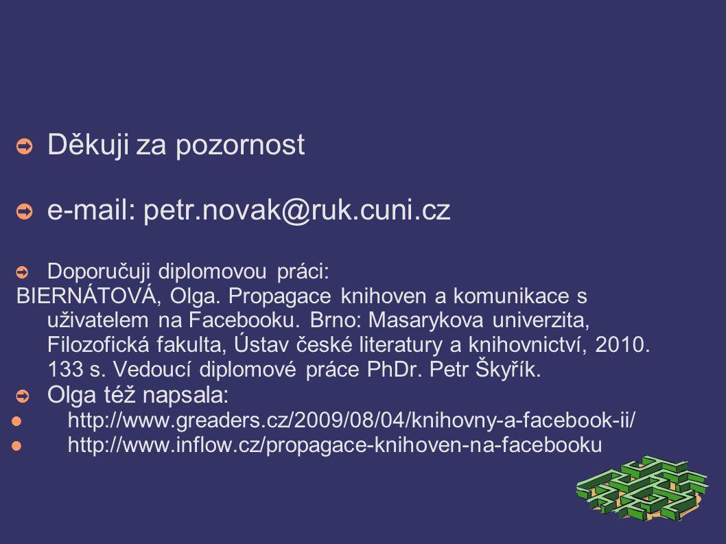 ➲ Děkuji za pozornost ➲ e-mail: petr.novak@ruk.cuni.cz ➲ Doporučuji diplomovou práci: BIERNÁTOVÁ, Olga.