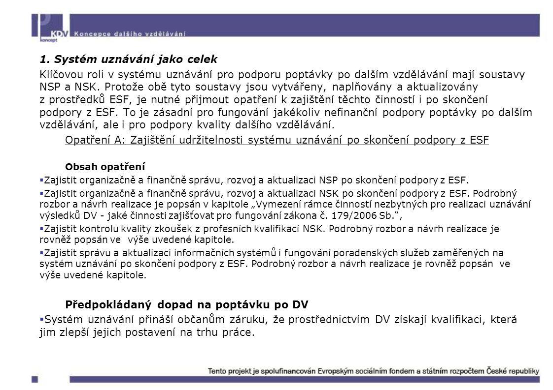 1. Systém uznávání jako celek Klíčovou roli v systému uznávání pro podporu poptávky po dalším vzdělávání mají soustavy NSP a NSK. Protože obě tyto sou