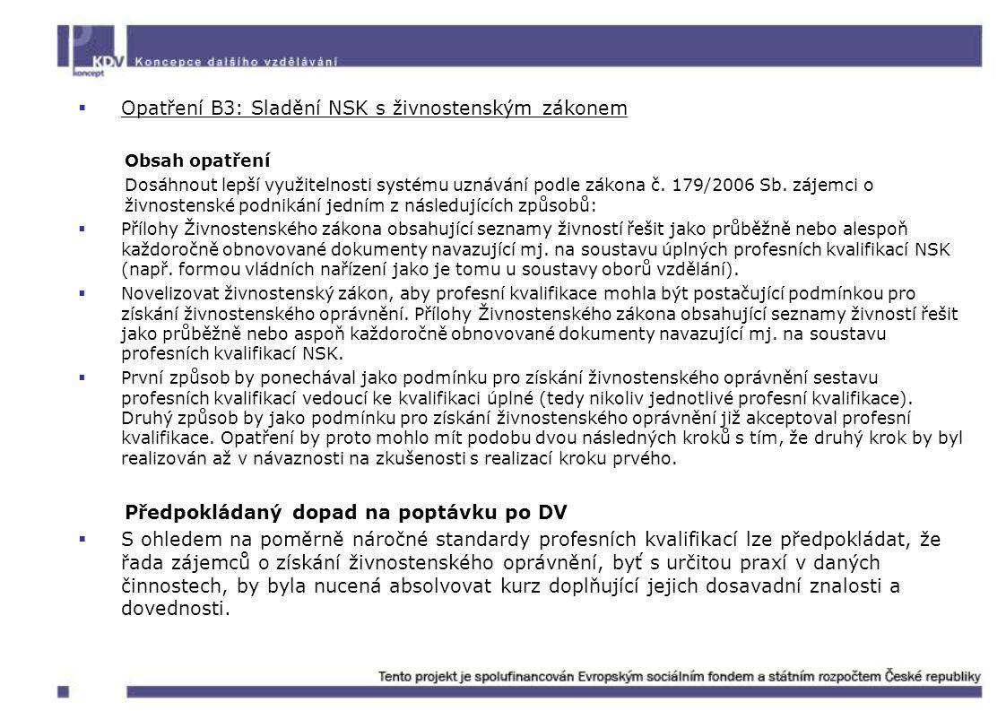  Opatření B3: Sladění NSK s živnostenským zákonem Obsah opatření Dosáhnout lepší využitelnosti systému uznávání podle zákona č. 179/2006 Sb. zájemci