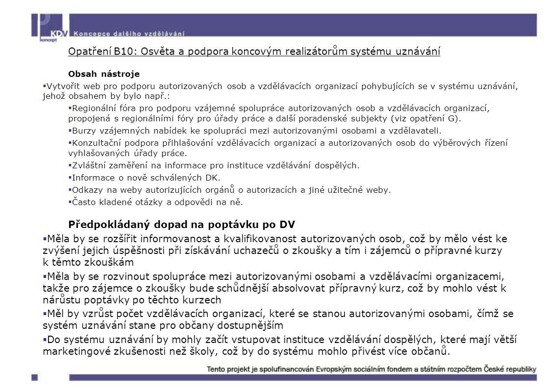 Opatření B10: Osvěta a podpora koncovým realizátorům systému uznávání Obsah nástroje  Vytvořit web pro podporu autorizovaných osob a vzdělávacích org