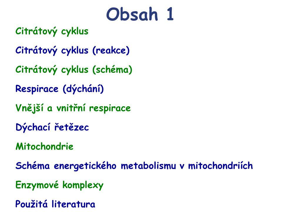 Obsah 1 Schéma energetického metabolismu v mitochondriích Enzymové komplexy Respirace (dýchání) Vnější a vnitřní respirace Použitá literatura Dýchací