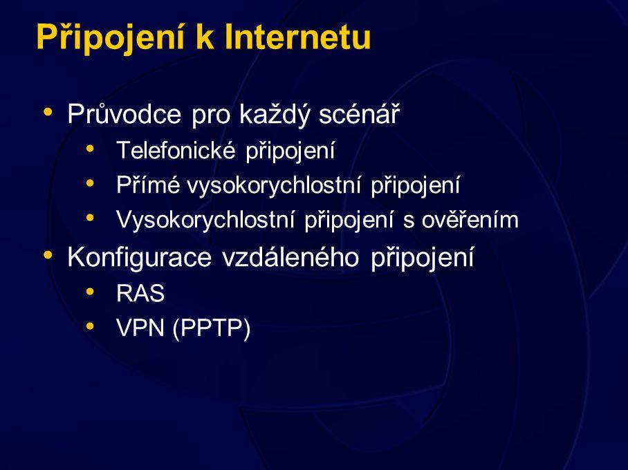 Připojení k Internetu Průvodce pro každý scénář Telefonické připojení Přímé vysokorychlostní připojení Vysokorychlostní připojení s ověřením Konfigurace vzdáleného připojení RAS VPN (PPTP)