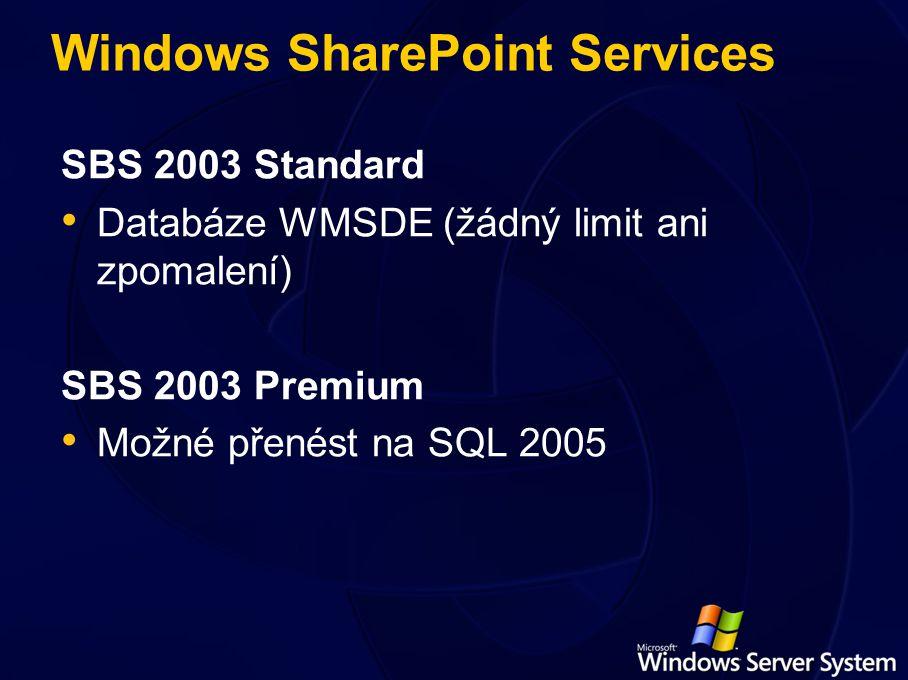 Windows SharePoint Services SBS 2003 Standard Databáze WMSDE (žádný limit ani zpomalení) SBS 2003 Premium Možné přenést na SQL 2005