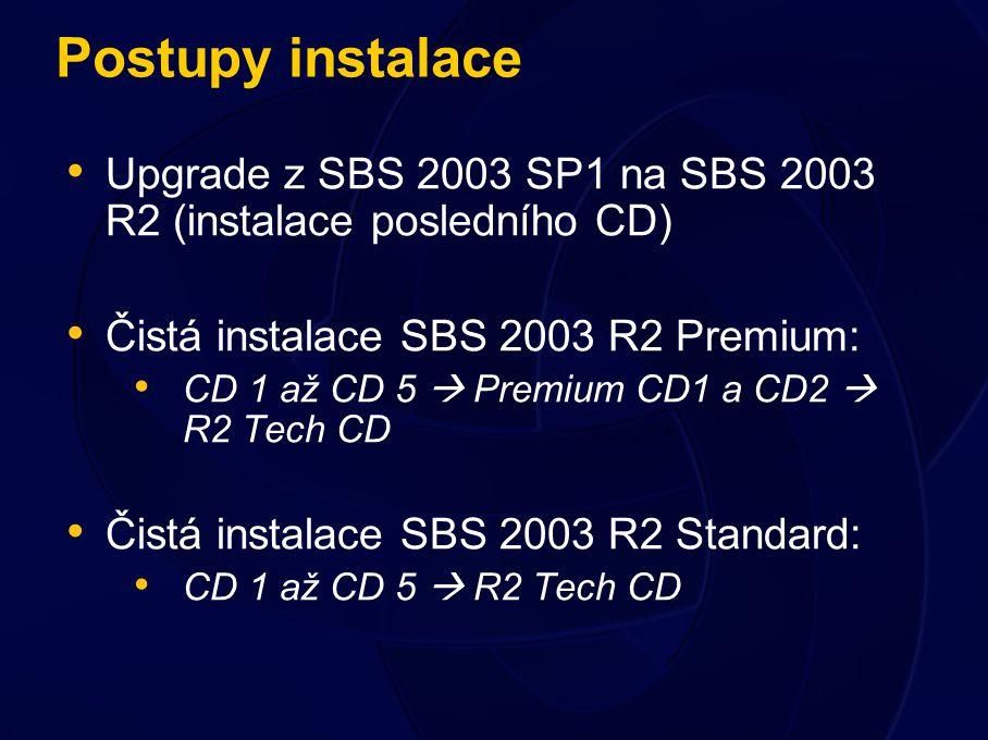 Postupy instalace Upgrade z SBS 2003 SP1 na SBS 2003 R2 (instalace posledního CD) Čistá instalace SBS 2003 R2 Premium: CD 1 až CD 5  Premium CD1 a CD2  R2 Tech CD Čistá instalace SBS 2003 R2 Standard: CD 1 až CD 5  R2 Tech CD