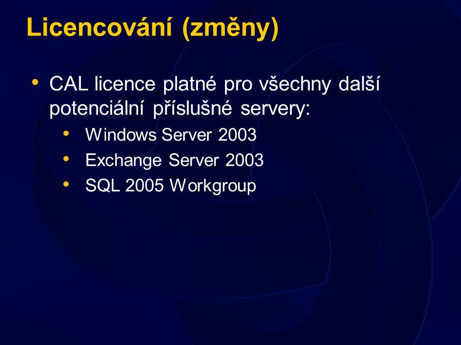 Licencování (změny) CAL licence platné pro všechny další potenciální příslušné servery: Windows Server 2003 Exchange Server 2003 SQL 2005 Workgroup
