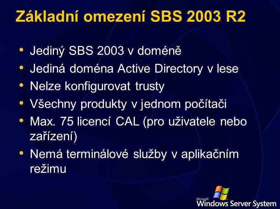 Základní omezení SBS 2003 R2 Jediný SBS 2003 v doméně Jediná doména Active Directory v lese Nelze konfigurovat trusty Všechny produkty v jednom počítači Max.