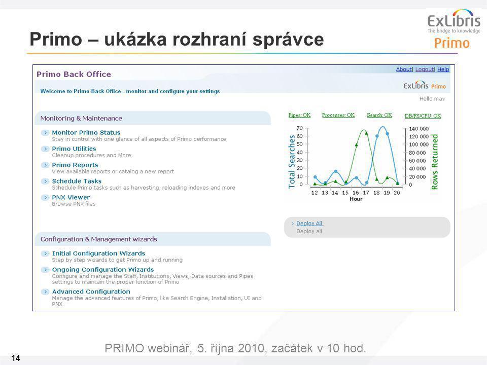 14 PRIMO webinář, 5. října 2010, začátek v 10 hod. Primo – ukázka rozhraní správce