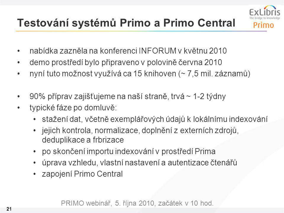 21 PRIMO webinář, 5. října 2010, začátek v 10 hod. Testování systémů Primo a Primo Central nabídka zazněla na konferenci INFORUM v květnu 2010 demo pr