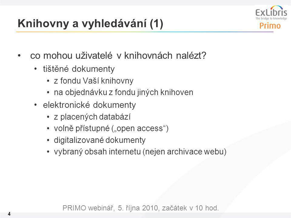 4 PRIMO webinář, 5. října 2010, začátek v 10 hod. Knihovny a vyhledávání (1) co mohou uživatelé v knihovnách nalézt? tištěné dokumenty z fondu Vaší kn