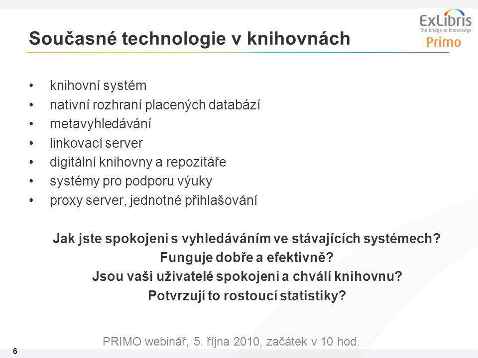 6 PRIMO webinář, 5. října 2010, začátek v 10 hod. Současné technologie v knihovnách knihovní systém nativní rozhraní placených databází metavyhledáván