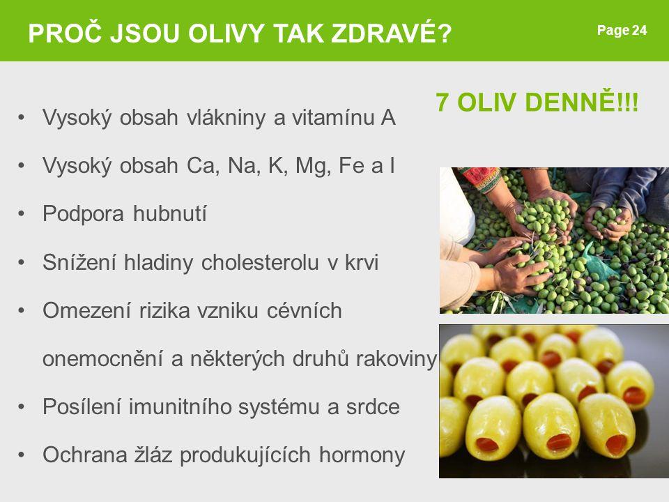 7 OLIV DENNĚ!!! Page 24 PROČ JSOU OLIVY TAK ZDRAVÉ? Vysoký obsah vlákniny a vitamínu A Vysoký obsah Ca, Na, K, Mg, Fe a I Podpora hubnutí Snížení hlad