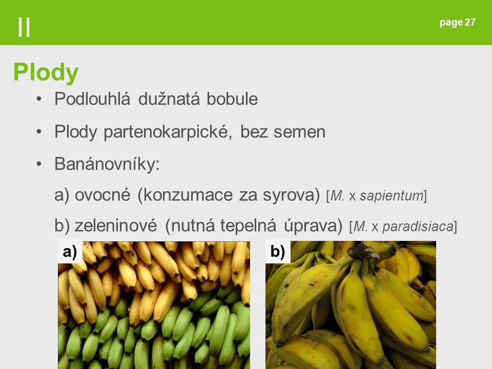 page 27 Podlouhlá dužnatá bobule Plody partenokarpické, bez semen Banánovníky: a) ovocné (konzumace za syrova) [M. x sapientum] b) zeleninové (nutná t