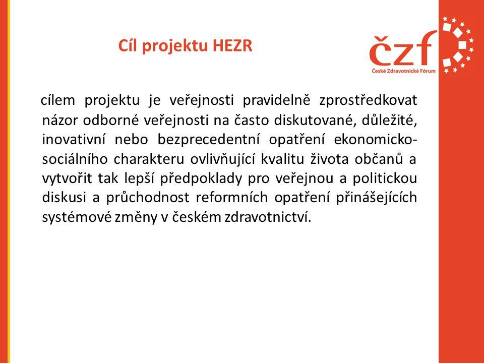 Cíl projektu HEZR cílem projektu je veřejnosti pravidelně zprostředkovat názor odborné veřejnosti na často diskutované, důležité, inovativní nebo bezprecedentní opatření ekonomicko- sociálního charakteru ovlivňující kvalitu života občanů a vytvořit tak lepší předpoklady pro veřejnou a politickou diskusi a průchodnost reformních opatření přinášejících systémové změny v českém zdravotnictví.