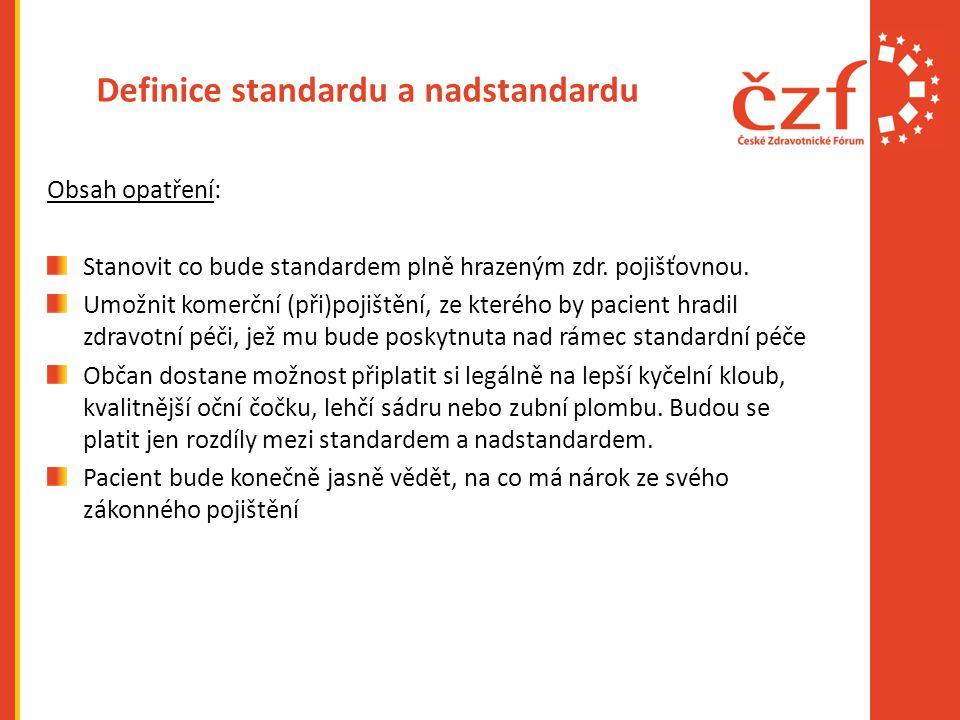 Definice standardu a nadstandardu Obsah opatření: Stanovit co bude standardem plně hrazeným zdr.