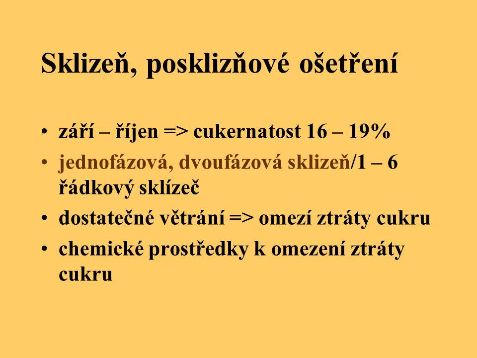 Sklizeň, posklizňové ošetření září – říjen => cukernatost 16 – 19% jednofázová, dvoufázová sklizeň/1 – 6 řádkový sklízeč dostatečné větrání => omezí z