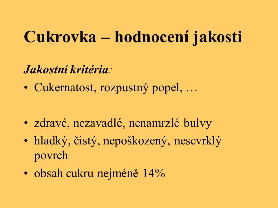 Cukrovka – hodnocení jakosti Jakostní kritéria: Cukernatost, rozpustný popel, … zdravé, nezavadlé, nenamrzlé bulvy hladký, čistý, nepoškozený, nescvrk