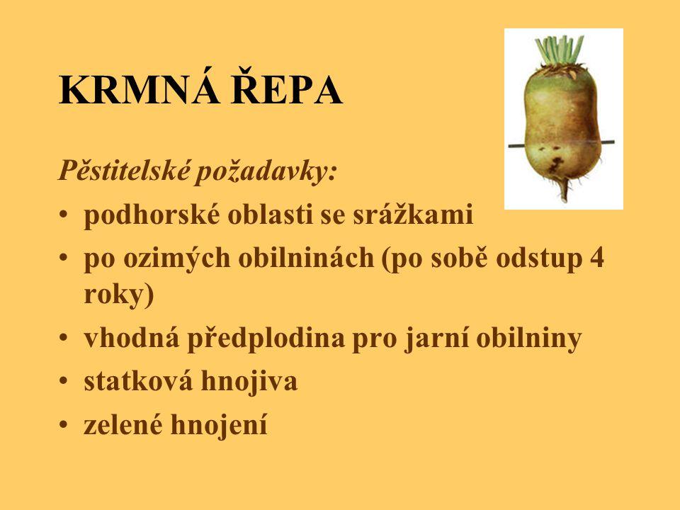 KRMNÁ ŘEPA Pěstitelské požadavky: podhorské oblasti se srážkami po ozimých obilninách (po sobě odstup 4 roky) vhodná předplodina pro jarní obilniny st