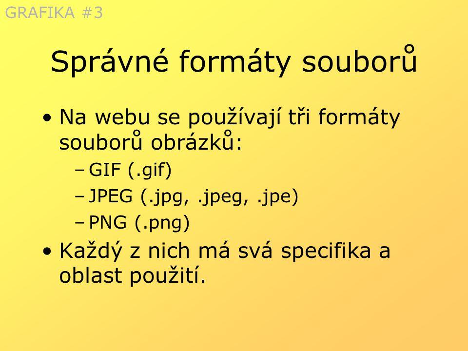 Správné formáty souborů Na webu se používají tři formáty souborů obrázků: –GIF (.gif) –JPEG (.jpg,.jpeg,.jpe) –PNG (.png) Každý z nich má svá specifik