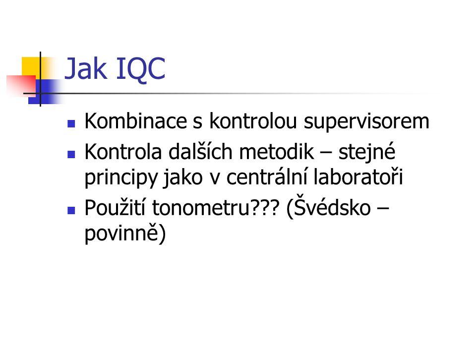 Jak IQC Kombinace s kontrolou supervisorem Kontrola dalších metodik – stejné principy jako v centrální laboratoři Použití tonometru??? (Švédsko – povi
