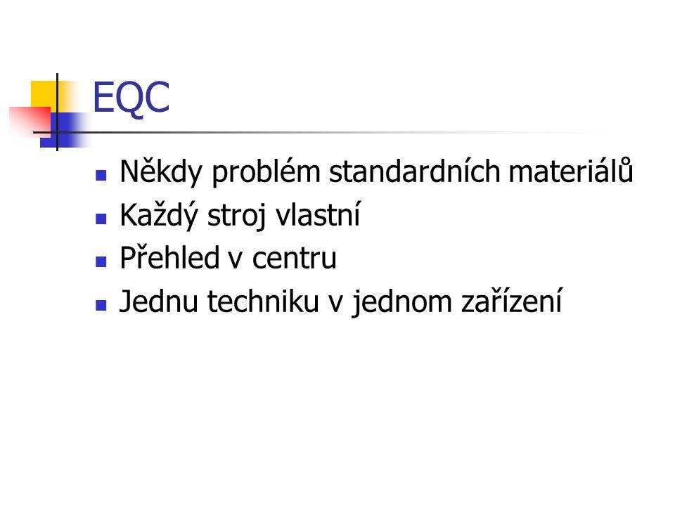 EQC Někdy problém standardních materiálů Každý stroj vlastní Přehled v centru Jednu techniku v jednom zařízení