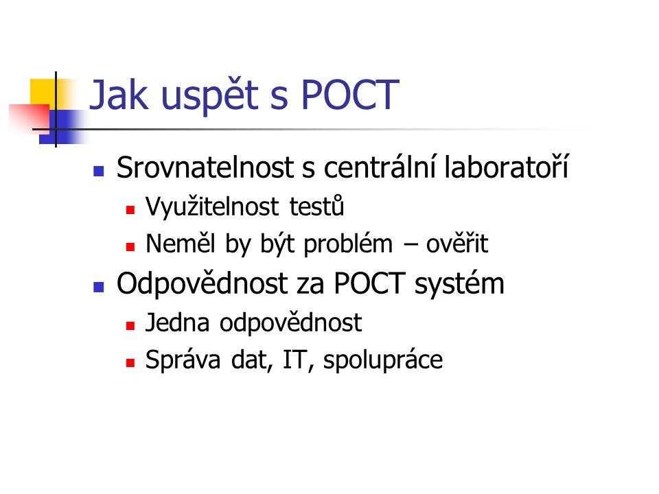 Jak uspět s POCT Srovnatelnost s centrální laboratoří Využitelnost testů Neměl by být problém – ověřit Odpovědnost za POCT systém Jedna odpovědnost Sp