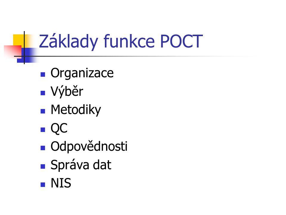 Základy funkce POCT Organizace Výběr Metodiky QC Odpovědnosti Správa dat NIS