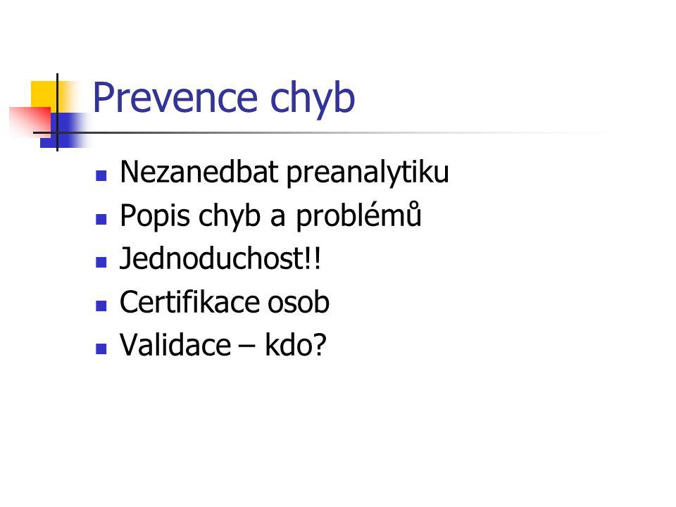 Prevence chyb Nezanedbat preanalytiku Popis chyb a problémů Jednoduchost!! Certifikace osob Validace – kdo?
