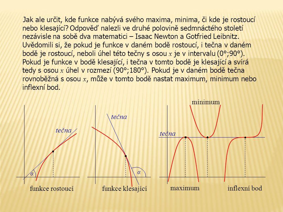 Jak ale určit, kde funkce nabývá svého maxima, minima, či kde je rostoucí nebo klesající.