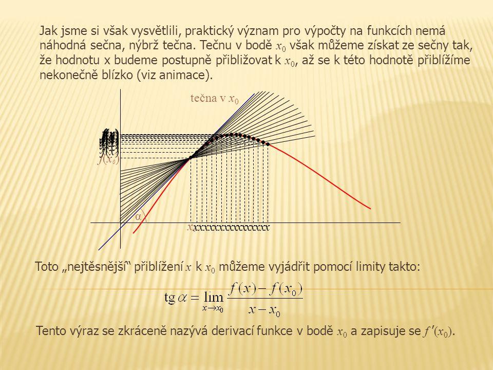 x f(x)f(x) f(x)f(x) x x f(x)f(x) x f(x)f(x) x f(x)f(x) x f(x)f(x) x f(x)f(x) x f(x)f(x) x f(x)f(x) x f(x)f(x) x f(x)f(x) x0x0 f(x0)f(x0) x f(x)f(x) f(x)f(x) x x f(x)f(x) x f(x)f(x) x f(x)f(x) Jak jsme si však vysvětlili, praktický význam pro výpočty na funkcích nemá náhodná sečna, nýbrž tečna.