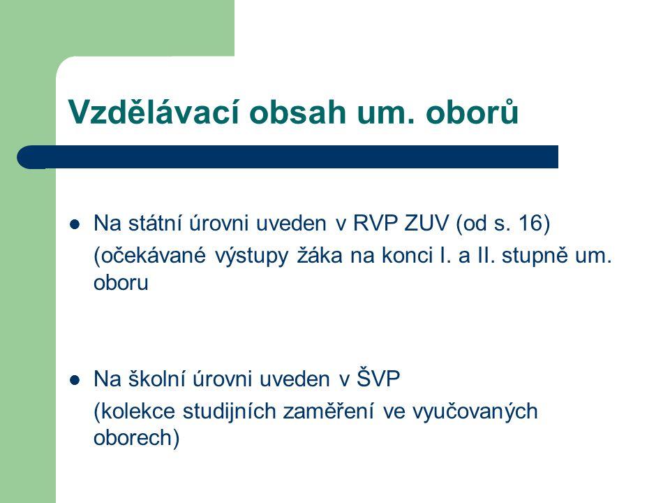 Vzdělávací obsah um.oborů Na státní úrovni uveden v RVP ZUV (od s.