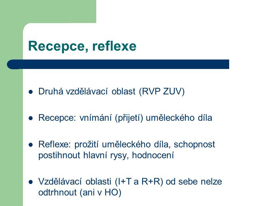 Recepce, reflexe Druhá vzdělávací oblast (RVP ZUV) Recepce: vnímání (přijetí) uměleckého díla Reflexe: prožití uměleckého díla, schopnost postihnout hlavní rysy, hodnocení Vzdělávací oblasti (I+T a R+R) od sebe nelze odtrhnout (ani v HO)