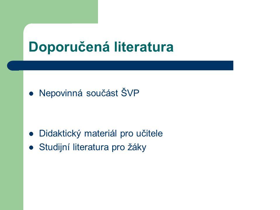 Doporučená literatura Nepovinná součást ŠVP Didaktický materiál pro učitele Studijní literatura pro žáky
