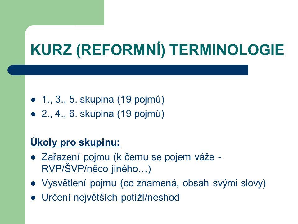 KURZ (REFORMNÍ) TERMINOLOGIE 1., 3., 5.skupina (19 pojmů) 2., 4., 6.