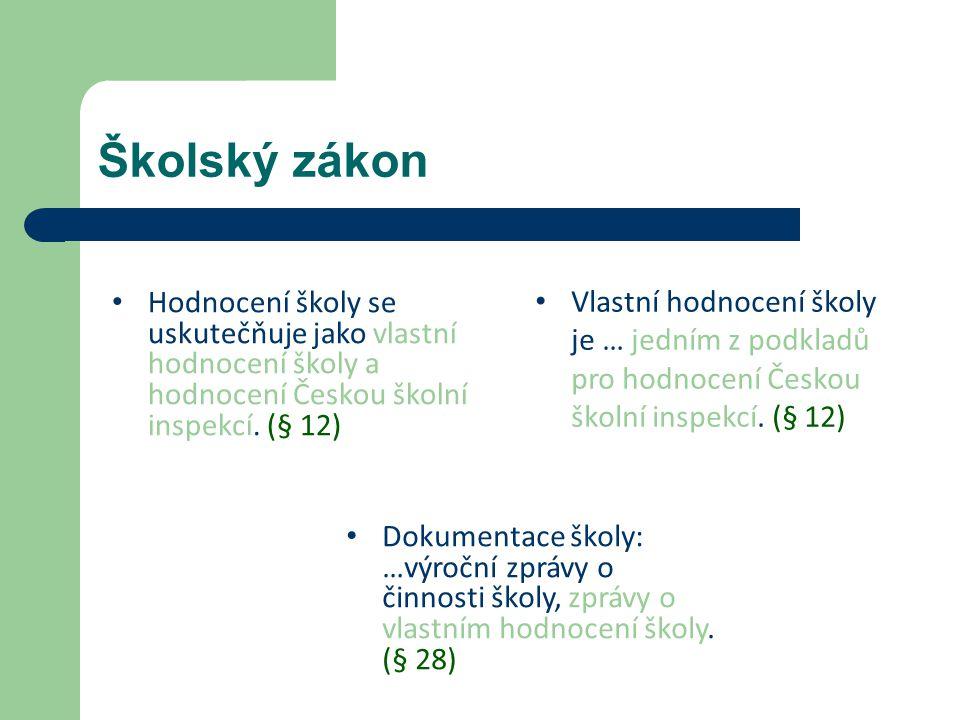 Školský zákon Hodnocení školy se uskutečňuje jako vlastní hodnocení školy a hodnocení Českou školní inspekcí.