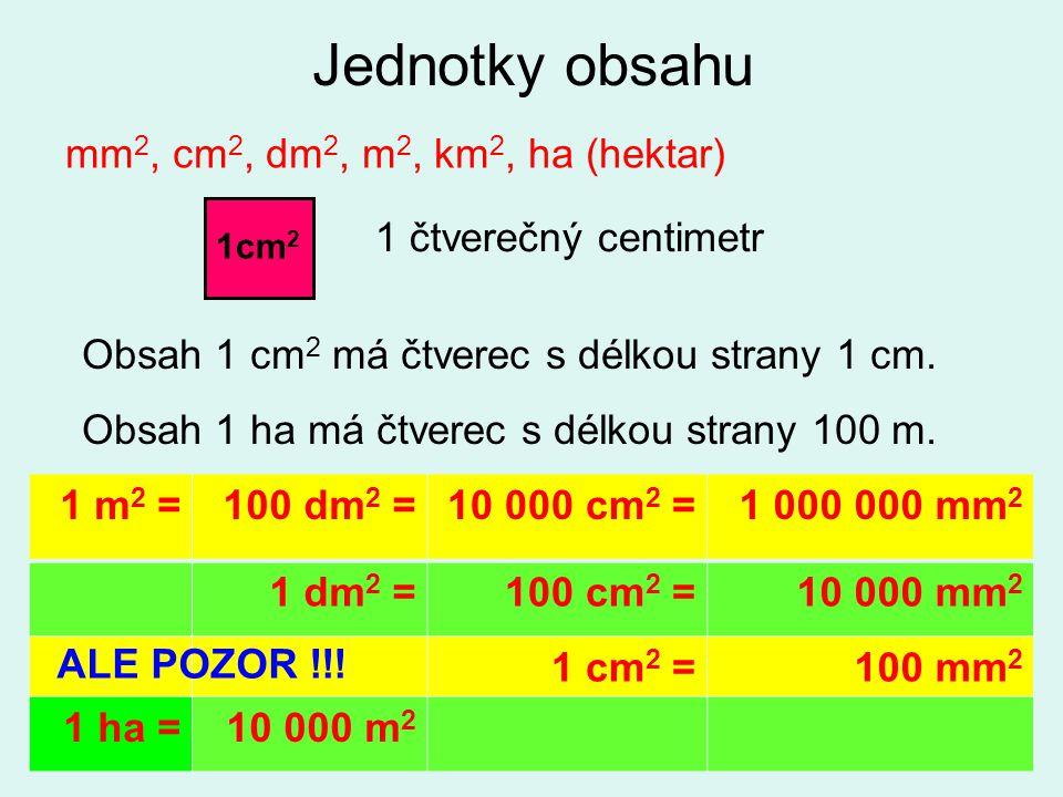Autorem materiálu a všech jeho částí, není-li uvedeno jinak, je Ing. Petra Antlová Jednotky obsahu 1 m 2 =100 dm 2 =10 000 cm 2 =1 000 000 mm 2 1 dm 2