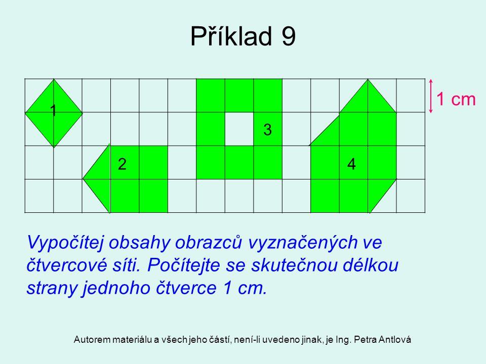 Autorem materiálu a všech jeho částí, není-li uvedeno jinak, je Ing. Petra Antlová Příklad 9 1 2 3 4 Vypočítej obsahy obrazců vyznačených ve čtvercové