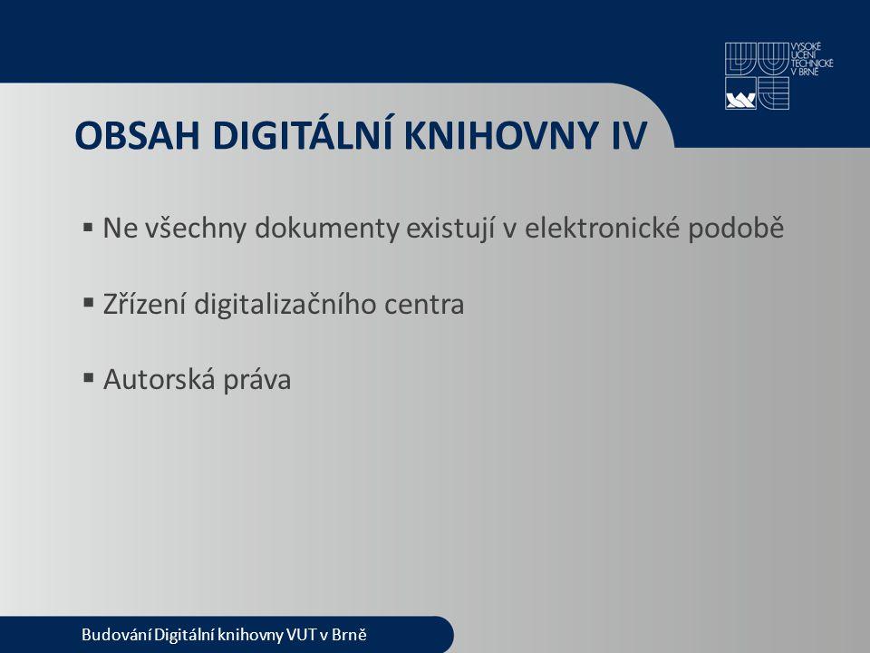 OBSAH DIGITÁLNÍ KNIHOVNY IV  Ne všechny dokumenty existují v elektronické podobě  Zřízení digitalizačního centra  Autorská práva Budování Digitální