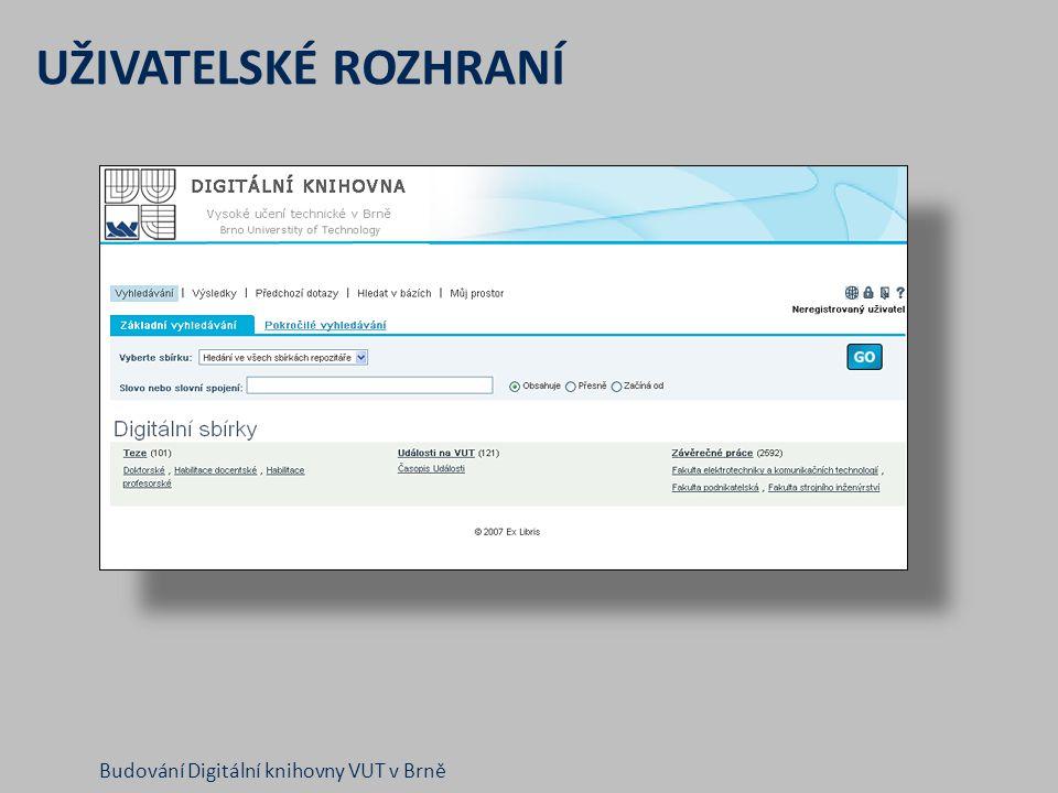 UŽIVATELSKÉ ROZHRANÍ Budování Digitální knihovny VUT v Brně