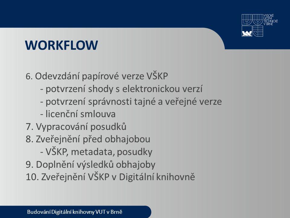 WORKFLOW Budování Digitální knihovny VUT v Brně 6. Odevzdání papírové verze VŠKP - potvrzení shody s elektronickou verzí - potvrzení správnosti tajné